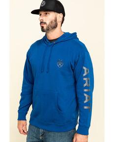 Ariat Men's Blue Stencil Sleeve Logo Hooded Sweatshirt , Blue, hi-res