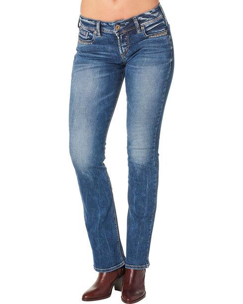 Silver Women's Suki Slim Fit Mid Rise Boot Cut Jeans - Plus, Blue, hi-res