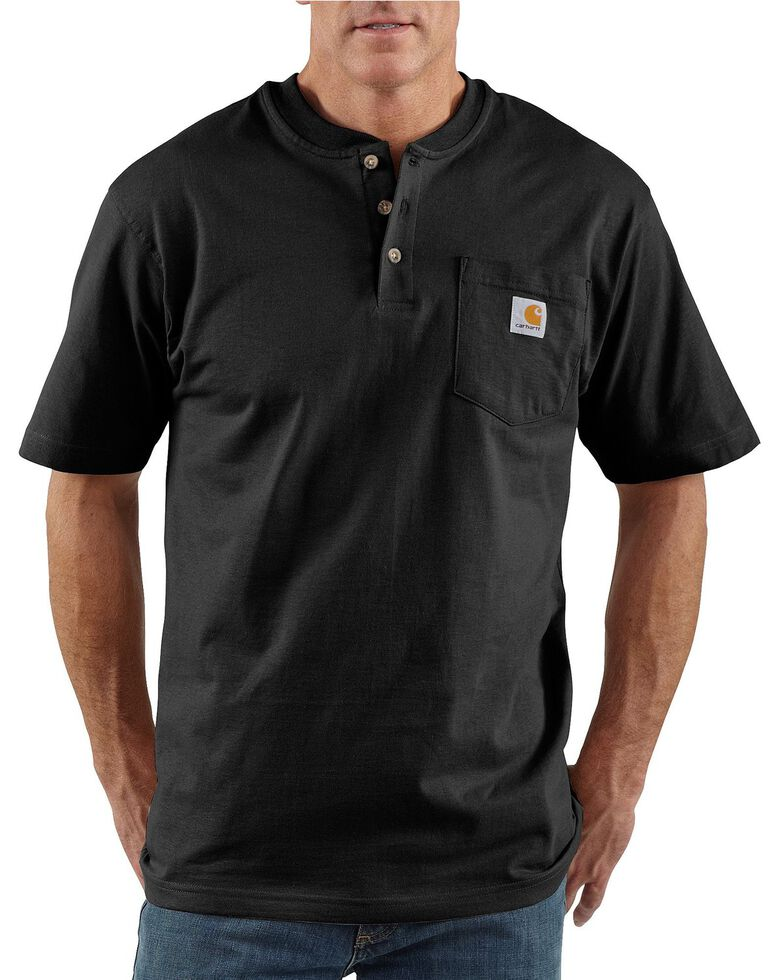 Carhartt Men's Short Sleeve Henley Work T-Shirt - Big & Tall, Black, hi-res