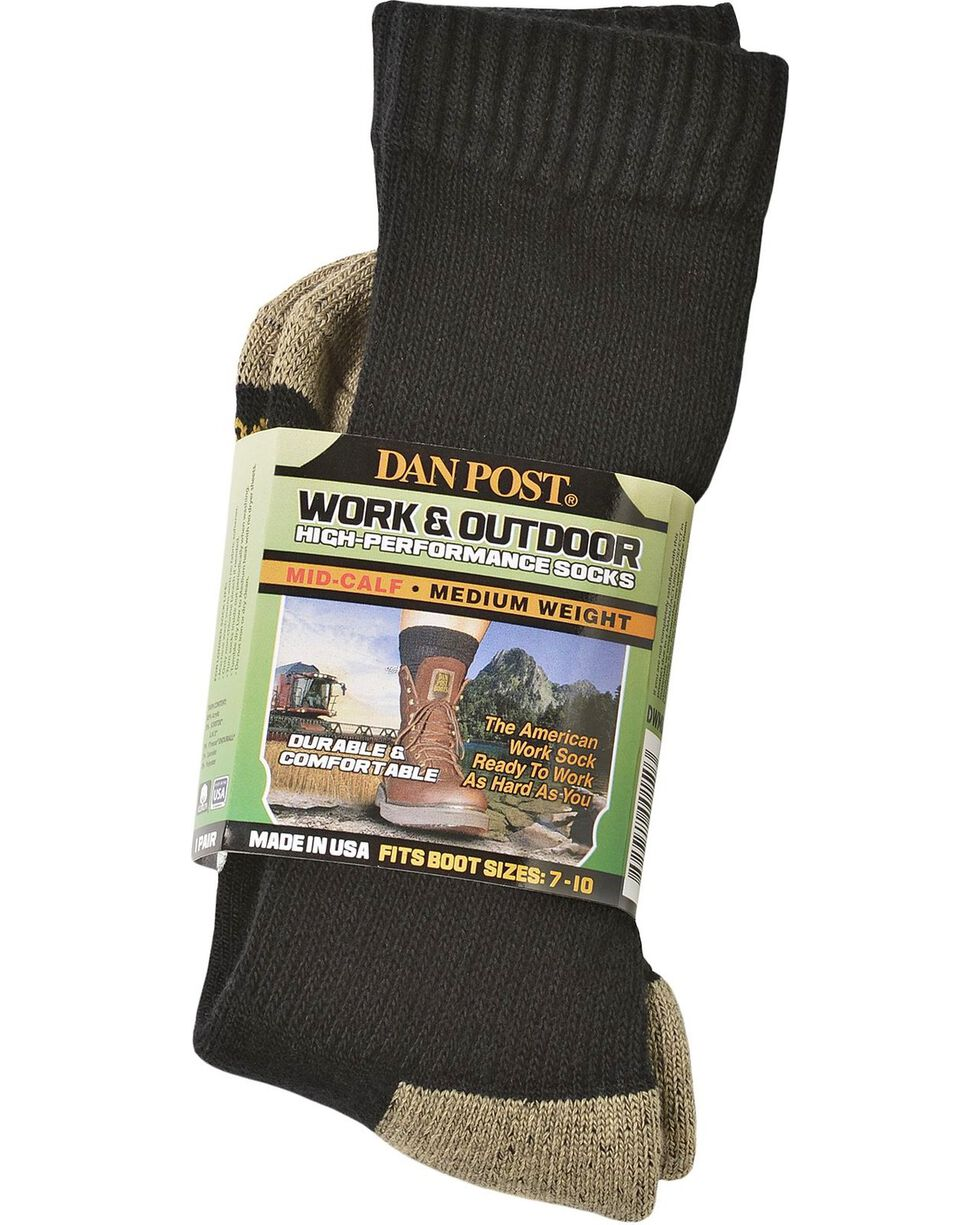Dan Post Mid-Calf Medium Weight Performance Socks, Black, hi-res