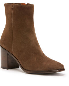 Frye Women's Dark Taupe Julia Booties - Round Toe , Taupe, hi-res