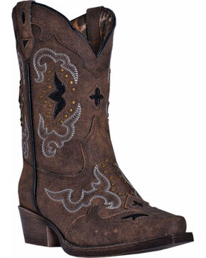 Dan Post Girls' Rulay Cowgirl Boots - Snip Toe, Brown, hi-res