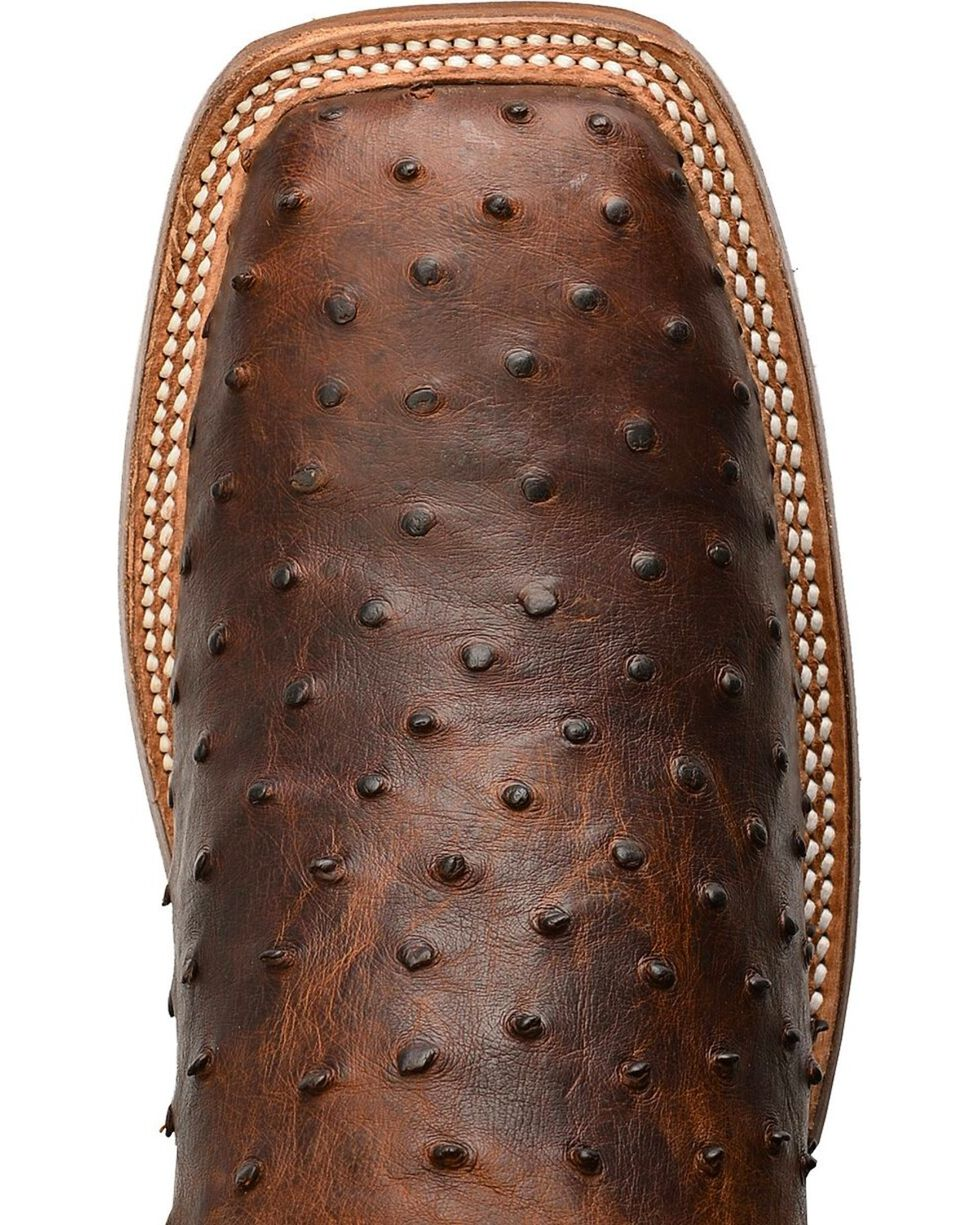 Justin AQHA Jurassic Full Quill Ostrich Cowboy Boots - Square Toe, Saddle Brown, hi-res