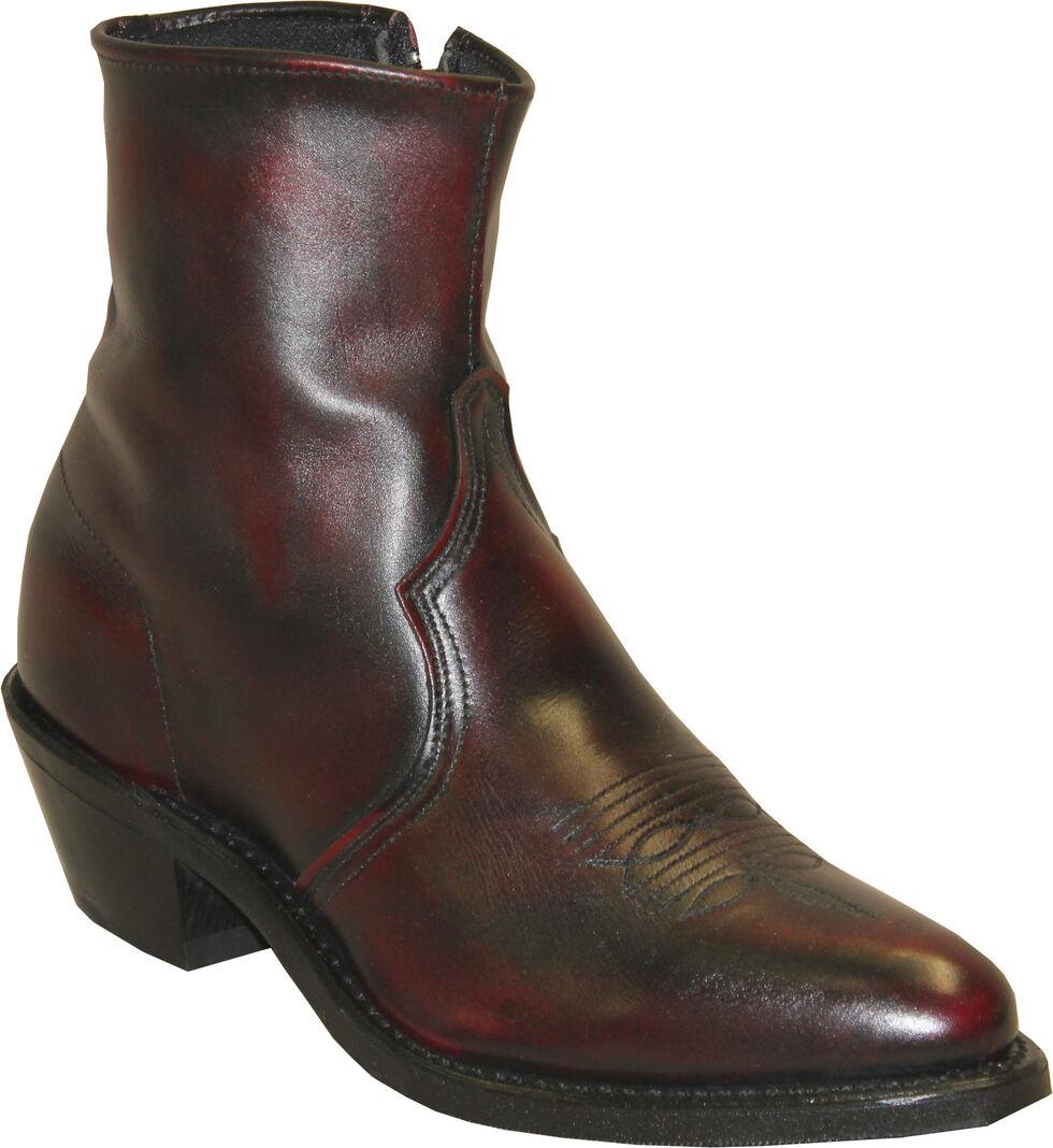 Sage by Abilene Boots Men's Zipper Short Boots, Black Cherry, hi-res