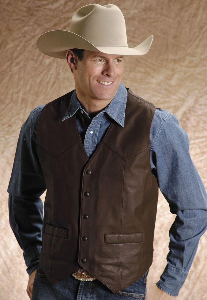 Roper Saddle Western Vest, Brown, hi-res