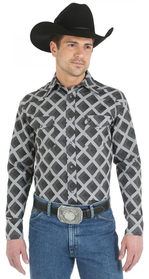 Wrangler George Strait Snap Pocket Grey Diamond Print Western Shirt - Big and Tall, Grey, hi-res