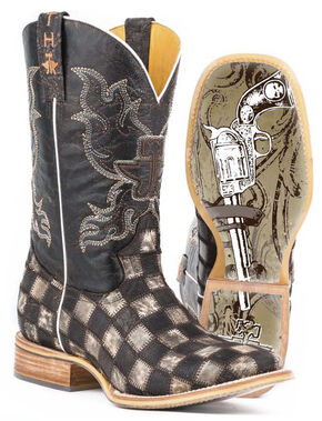 Tin Haul Men's Gunslinger Checkered Cowboy Boots - Square Toe, Brown, hi-res