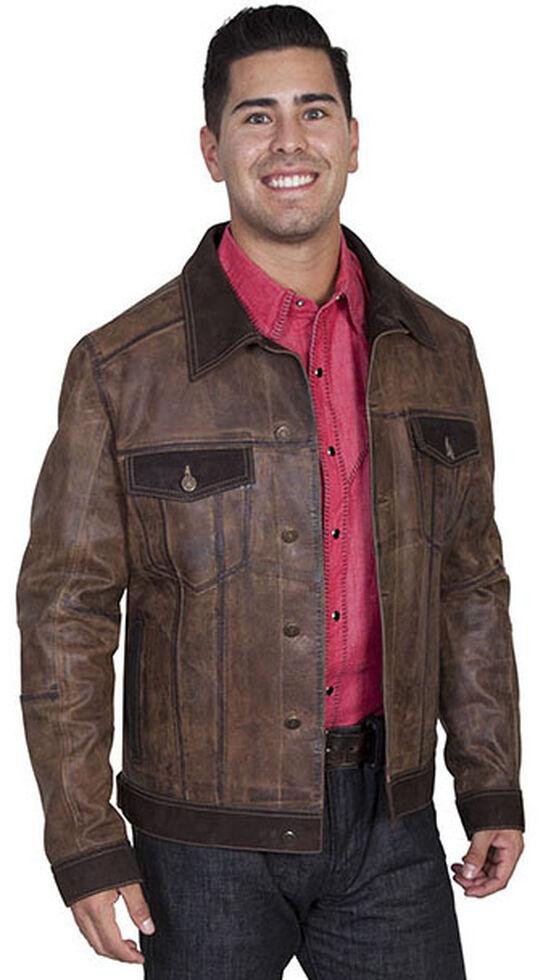 Scully Men's Vintage Calf Jean Jacket, Brown, hi-res