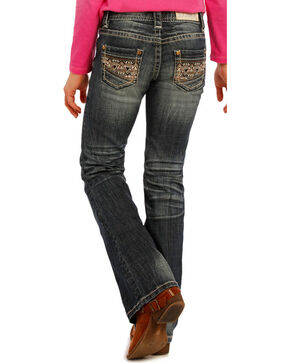 Rock & Roll Cowgirl Girls' Blue Aztec Embroidered Jeans - Boot Cut , Blue, hi-res