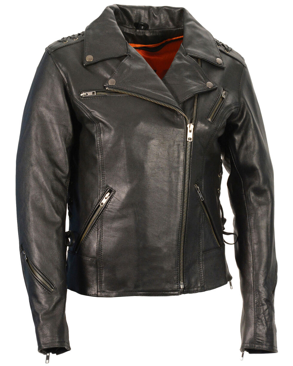 Milwaukee Leather Women's Lightweight Lace To Lace Motorcycle Jacket - 5X, Black, hi-res