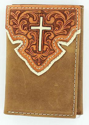 Nocona Tooled Overlay w/ Cross Inlay Tri-Fold Wallet, Brown, hi-res