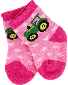 John Deere Infant Girls' Pink Tractor Heart Socks , Pink, hi-res