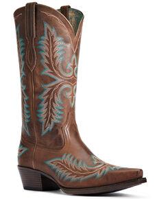 Ariat Women's Carolina Sassy Western Boots - Snip Toe, Brown, hi-res