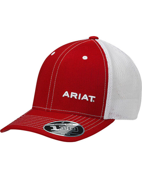 Ariat Men's Pinstripe Flexfit Ball Cap, Red, hi-res
