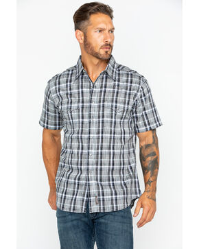 Wrangler Men's Retro Plaid Short Sleeve Shirt , Black, hi-res