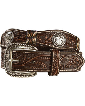 Ariat Men's Scalloped Floral Embossed Ribbon Belt, Brown, hi-res