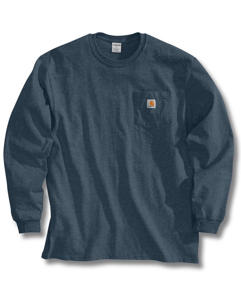 Carhartt Men's Solid Pocket Long Sleeve Work T-Shirt, Blue Stone, hi-res