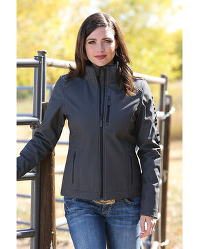 Cinch Women's Black Herringbone Printed Bonded Jacket , Black, hi-res
