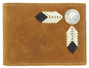 Nocona Buffalo Concho Leather Laced Bi-Fold Wallet, Med Brown, hi-res