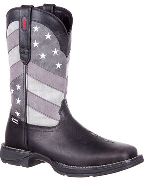 Durango Men's Black Rebel Faded Flag Boots - Square Toe , Black, hi-res