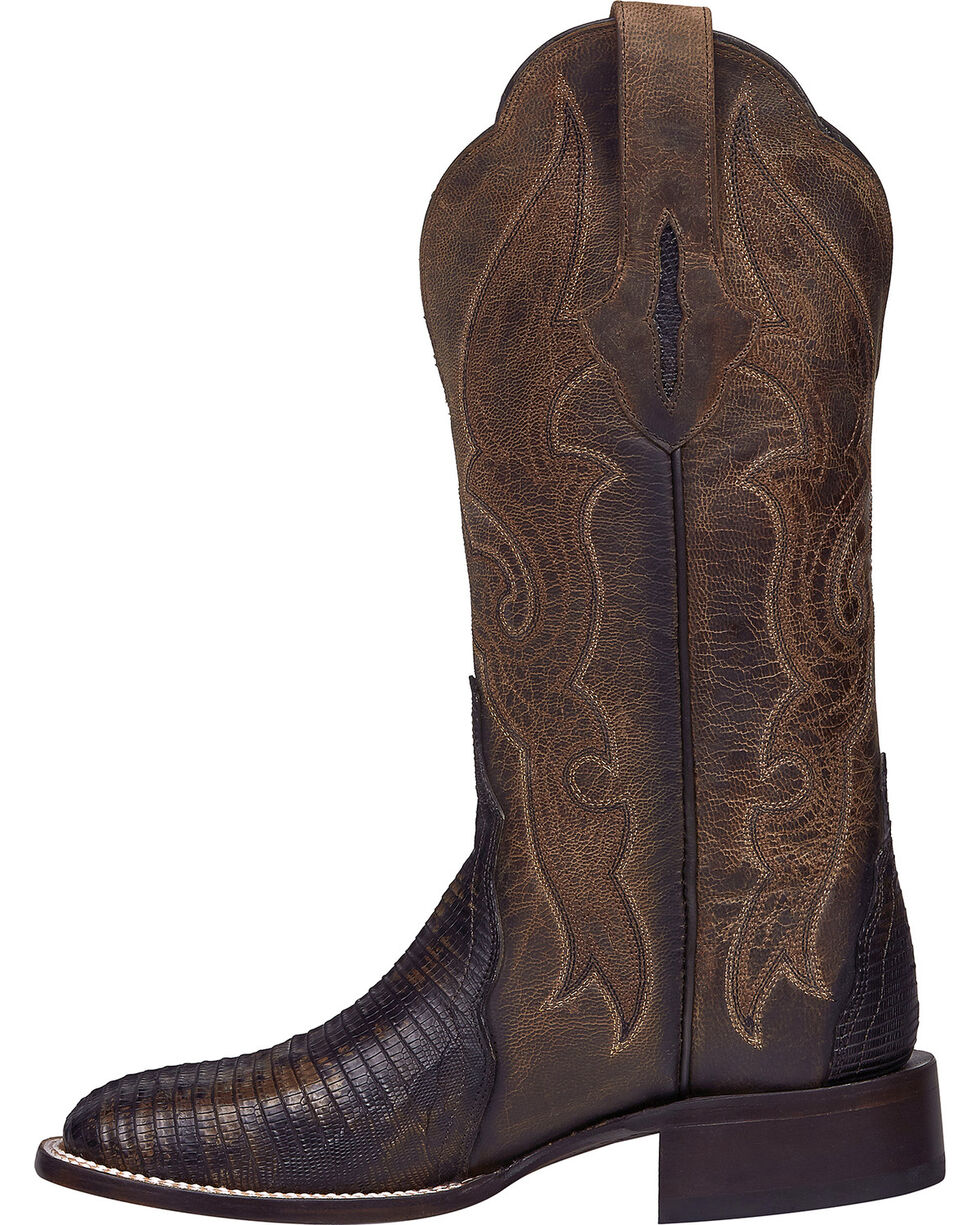 Lucchese Handmade Brown Marissa Lizard Cowgirl Boots - Square Toe , Brown, hi-res