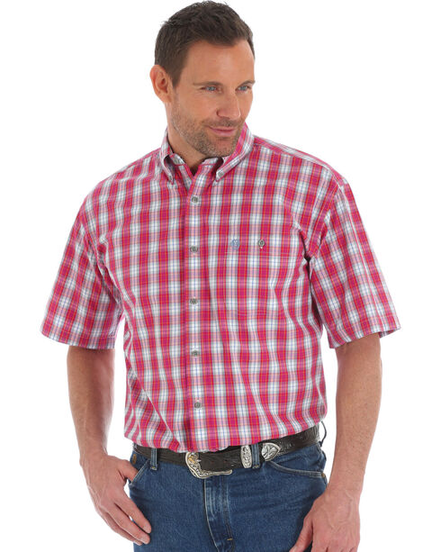 Wrangler George Strait Men's Red Plaid Short Sleeve Button Down Shirt, Red, hi-res