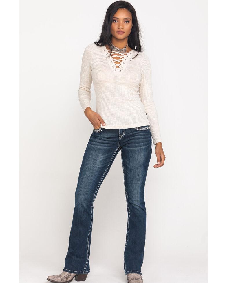 Grace in LA Women's Medium Bootcut Faux Flap Jeans , Blue, hi-res