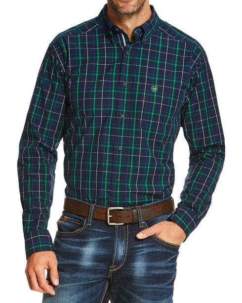Ariat Men's Indigo Overton Long Sleeve Shirt , Indigo, hi-res