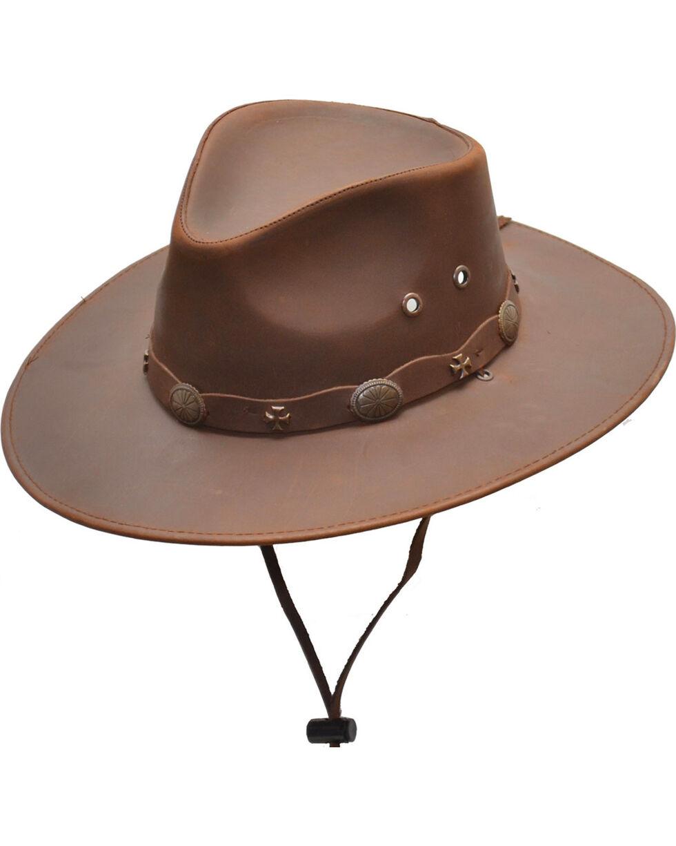 Western Express Men's Brown Leather Hat , Brown, hi-res