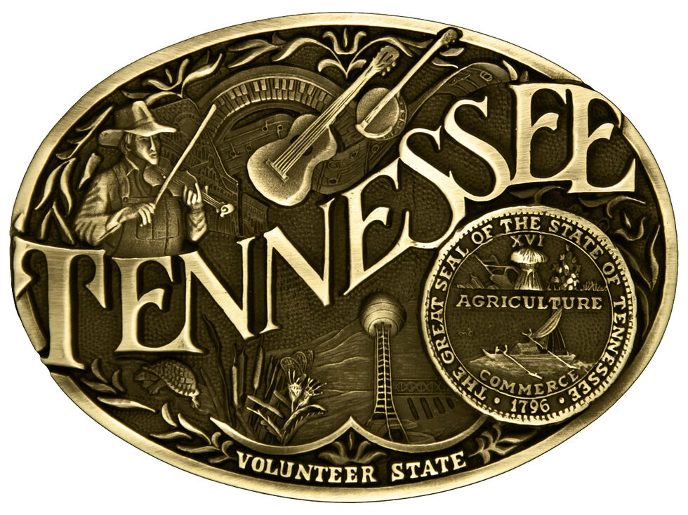 Montana Silversmiths Tennessee State Heritage Attitude Belt Buckle, Gold, hi-res