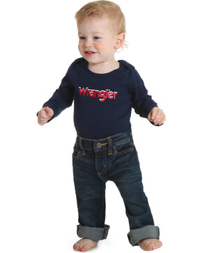 Wrangler Infant Boys' Navy Classic Logo Onesie , Navy, hi-res