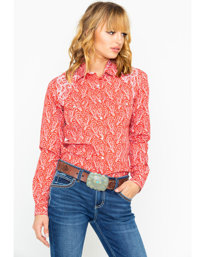 b5ee1bbb Zoomed Image Panhandle Women's Concho Print Long Sleeve Western Shirt, Red,  hi-res