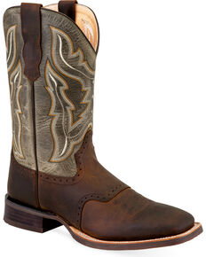 """Old West Men's 9"""" Two Tone Saddle Vamp Leather Boots - Square Toe, Brown, hi-res"""