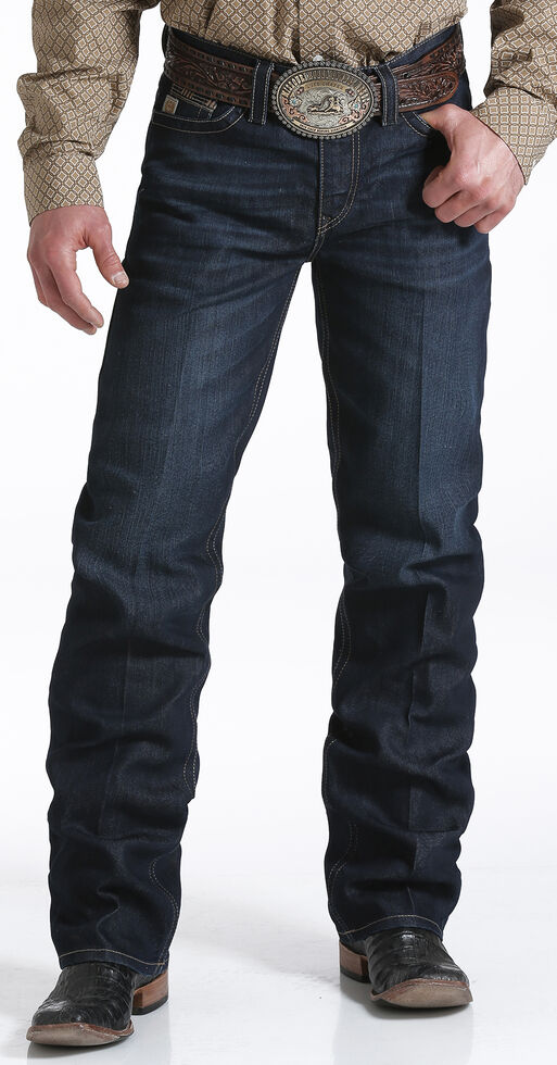 Cinch Men's Grant Dark Rinse Sorbtek Relaxed Fit Bootcut Jeans, Indigo, hi-res