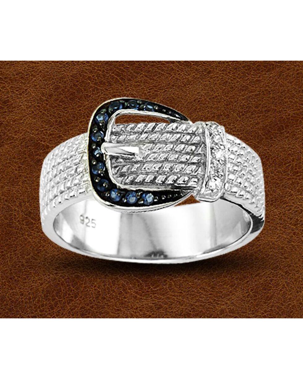 Kelly Herd Sterling Silver Rhinestone Buckle Ring, Silver, hi-res