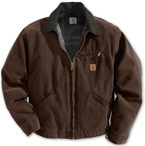 Carhartt Blanket Lined Sandstone Detroit Work Jacket - Big & Tall, Dark Brown, hi-res