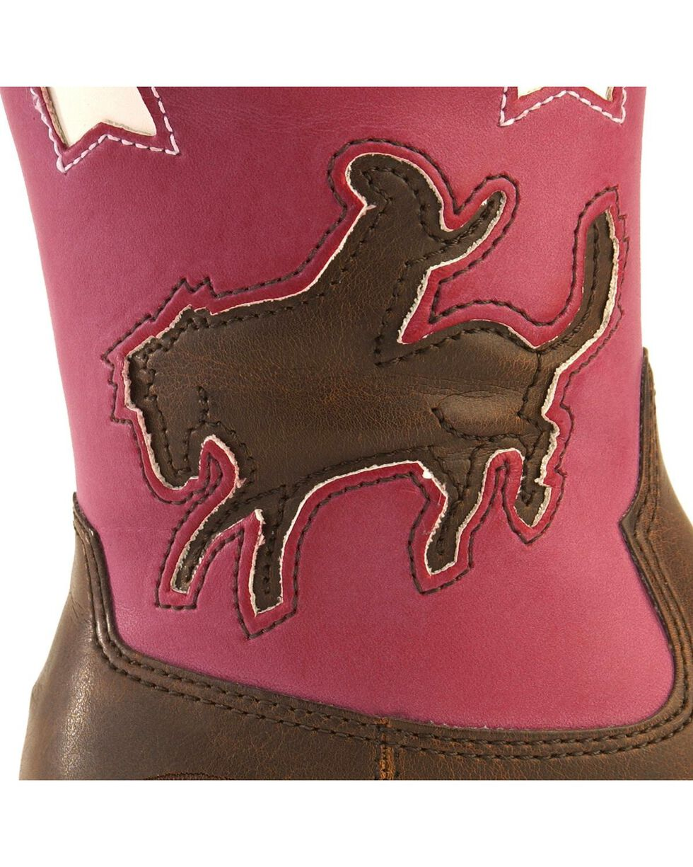 Roper Toddler Girls' Light Up Pink Bronco Cowgirl Boots, Tan, hi-res