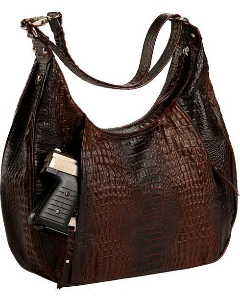 Designer Concealed Carry Brown Gator Print Santa Fe Hobo Bag, Brown, hi-res