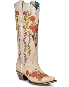 Corral Women's White Floral & Deer Embroidery Western Boots - Snip Toe, White, hi-res