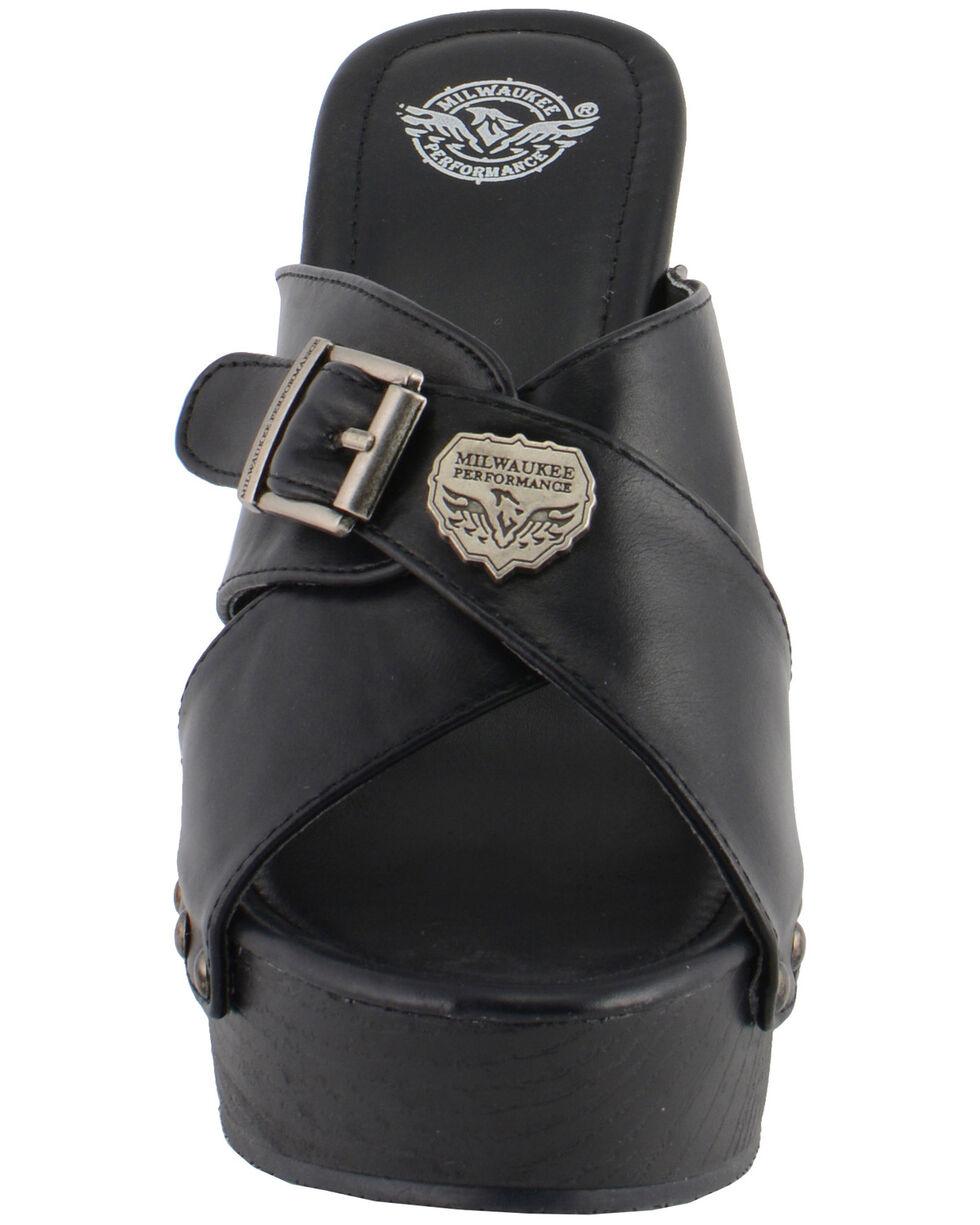 Milwaukee Leather Women's Cross Strap Open Toe Clogs, Black, hi-res