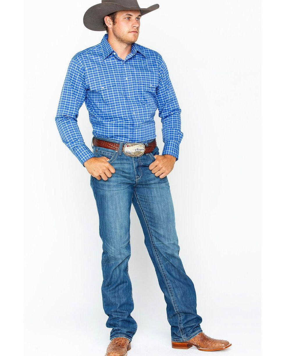 Wrangler Men's Wrinkle Resist Blue Plaid Long Sleeve Western Snap Shirt, Blue, hi-res