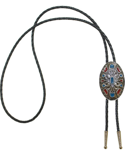 Western Express Turquoise And Coral Enameled Bolo Tie, Silver, hi-res