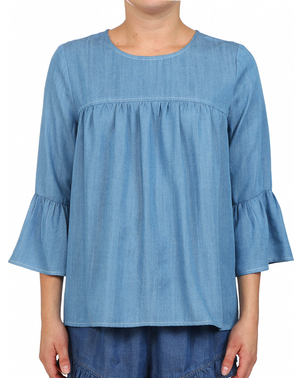 Glam Women's Potassium Slub Ruffle Shirt , Blue, hi-res