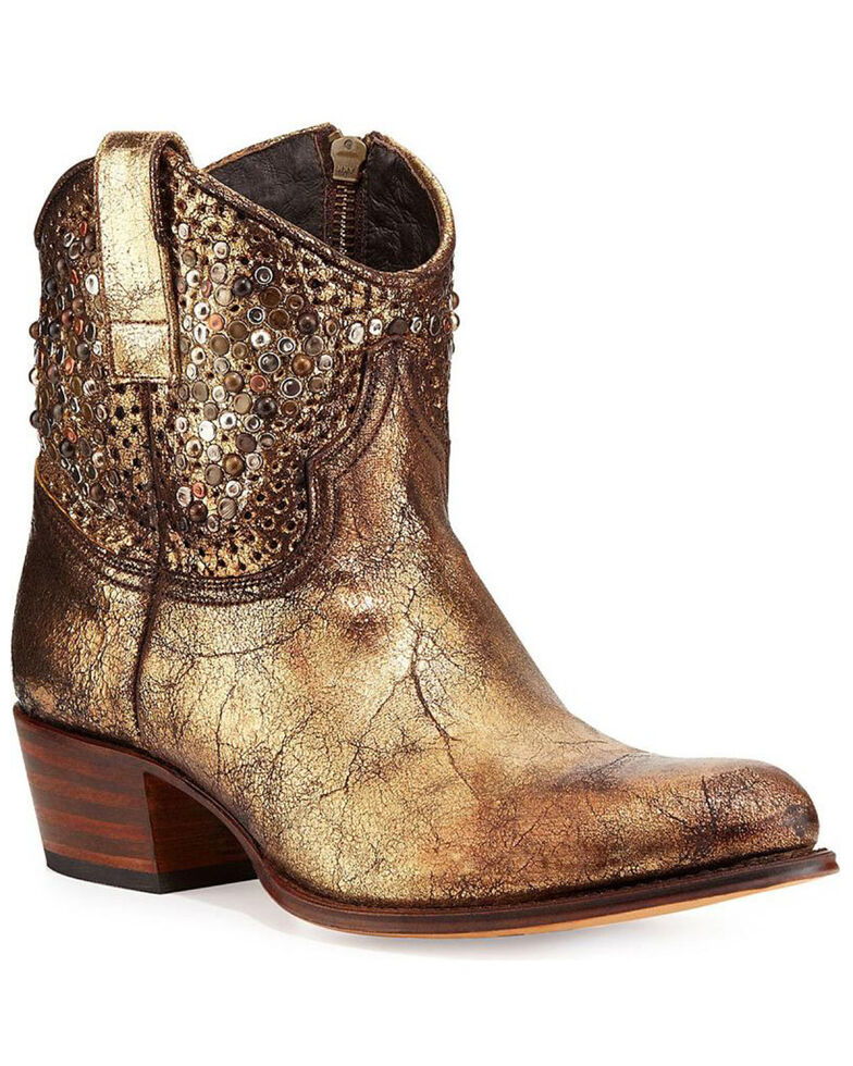 Frye Women's Deborah Studded Booties - Medium Toe, Gold, hi-res