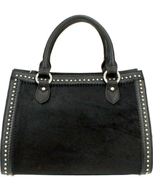Montana West Delila Satchel 100% Genuine Leather Hair-On Hide Collection in Black, Black, hi-res
