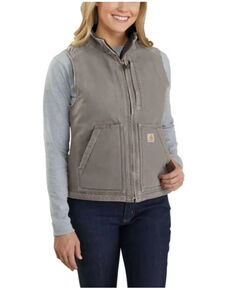 Carhartt Women's Taupe Washed Duck Sherpa Lined Vest , Taupe, hi-res