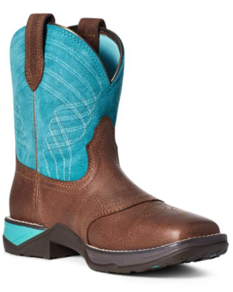 Ariat Women's Anthem Shortie Western Boots - Square Toe, Brown, hi-res