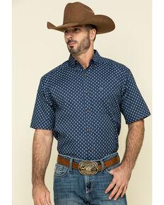 Ariat Men's Trussville Navy Geo Print Short Sleeve Western Shirt - Big , Navy, hi-res