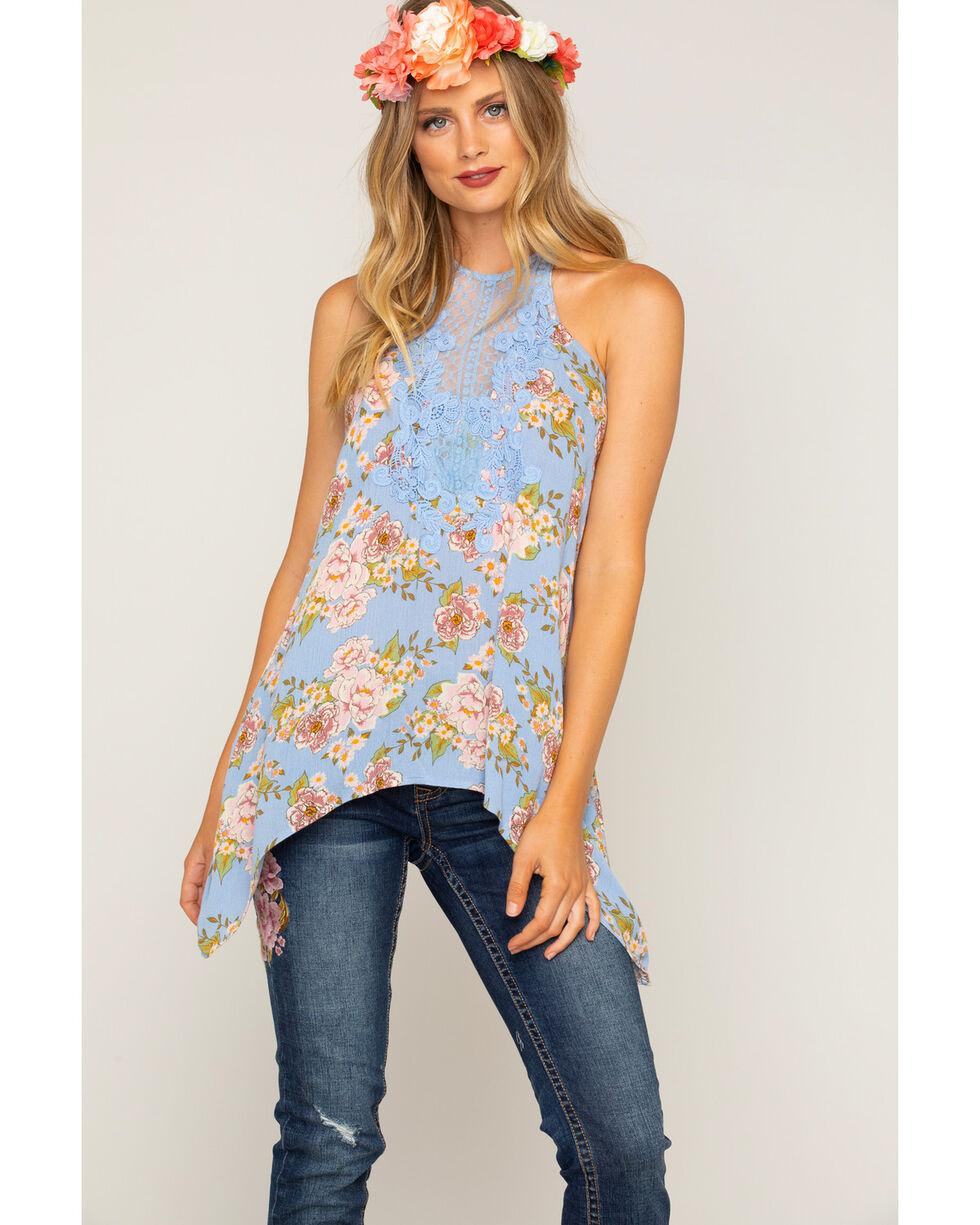 Shyanne Women's Floral Lace Tank Top , Blue, hi-res