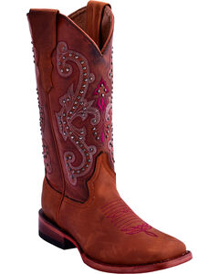 Ferrini Women's Studded Cowgirl Boots - Square Toe , Brown, hi-res